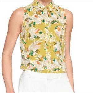 Banana Republic Sleeveless Palm Print Top